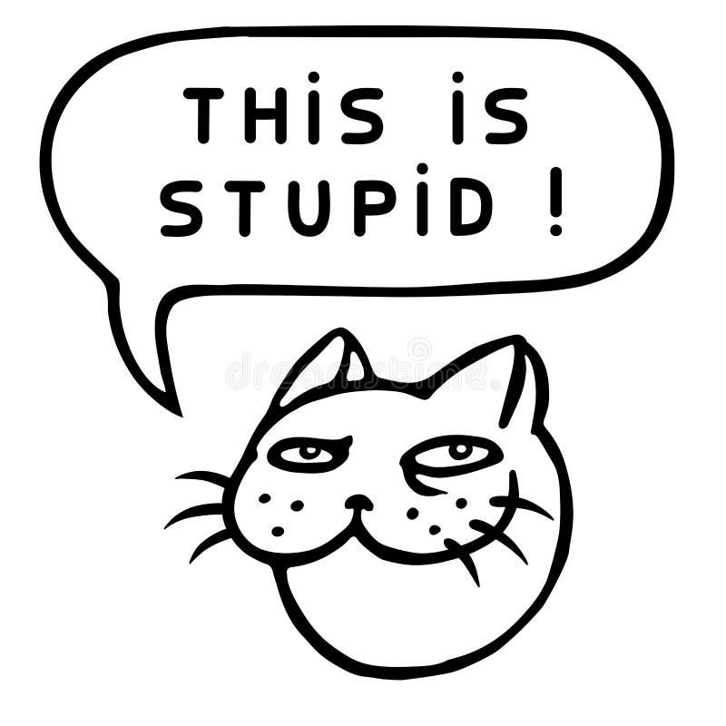Dit is Stom! Beeldverhaal Cat Head De Bel van de toespraak Vector illustratie royalty-vrije illustratie