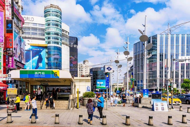Dit is Ximen-het winkelen district en mrt post royalty-vrije stock afbeeldingen