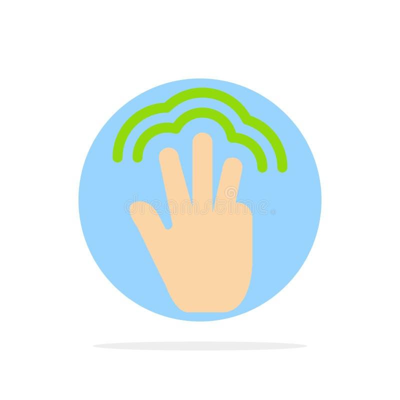 Dita, gesti, mano, interfaccia, icona piana di colore di tocco dell'estratto del fondo multiplo del cerchio illustrazione di stock