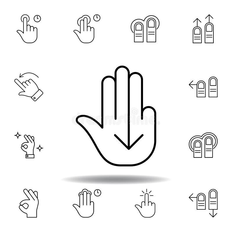 dita giù l'icona del profilo di gesto del colpo Metta dell'illustrazione dei gesturies della mano I segni ed i simboli possono es royalty illustrazione gratis