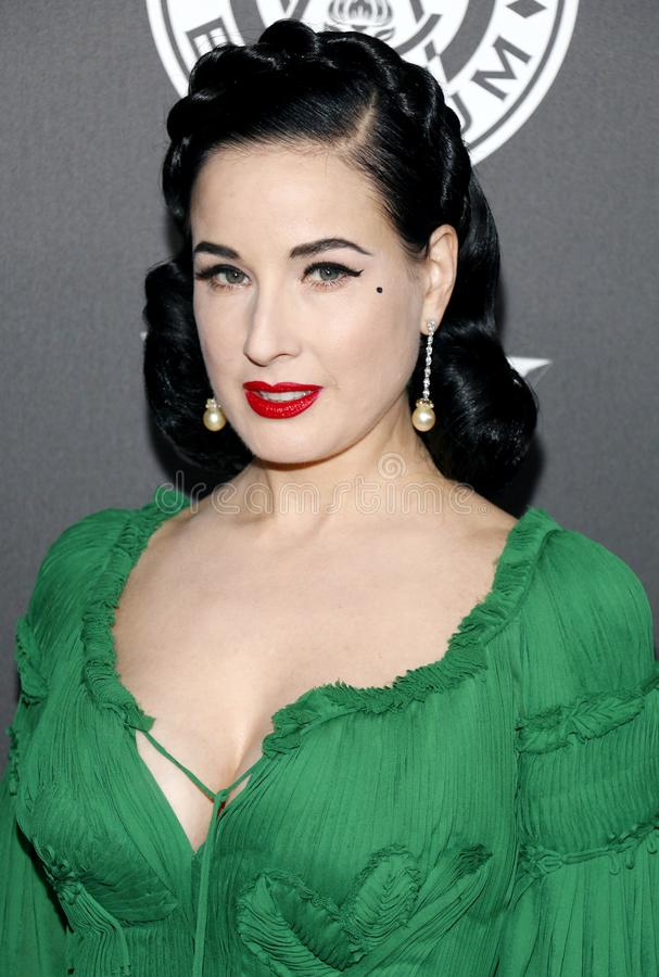 Dita Von Teese. At the Art Of Elysium`s 11th Annual Heaven Celebration held at the Barker Hangar in Santa Monica, USA on January 6, 2018 royalty free stock image