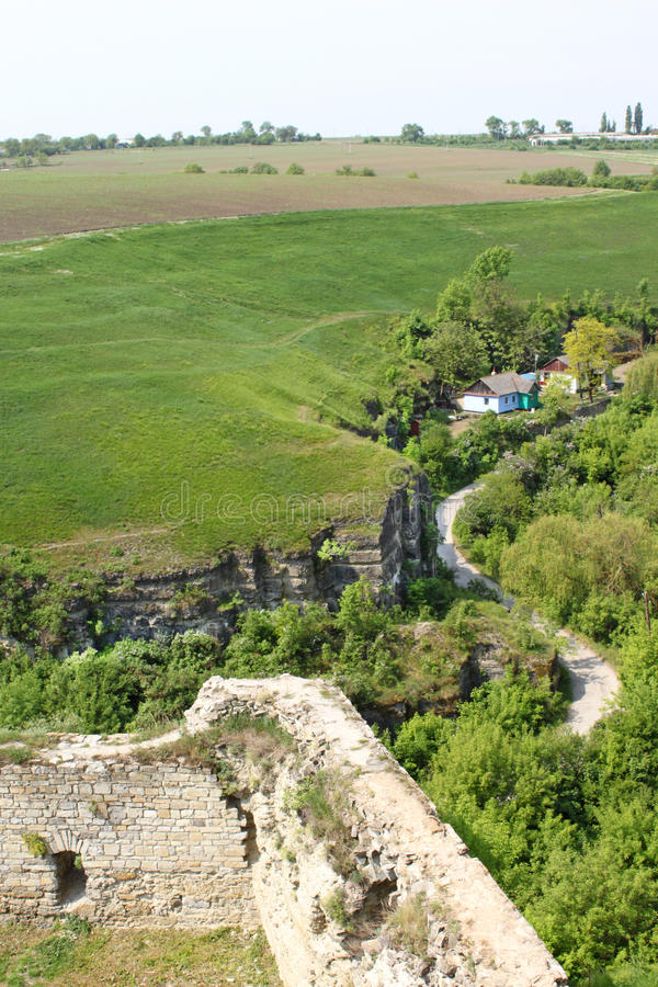 Ditch across fort in Kamjanets-Podolsk stock photos