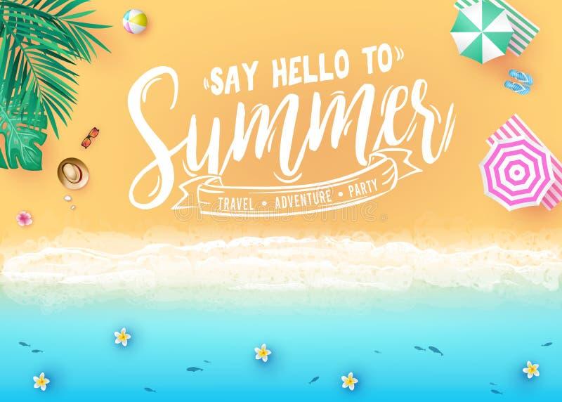 Dites bonjour au message d'été dans la bannière créative de vue supérieure de conception de station balnéaire de côté de mer avec illustration libre de droits