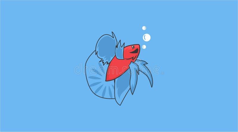Dites bonjour aux poissons de betta illustration de vecteur