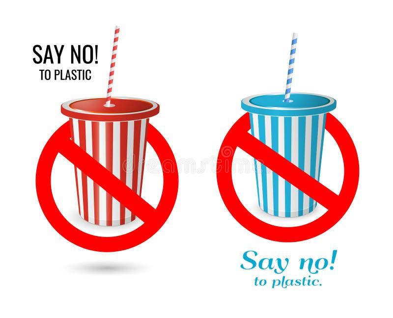 Dites non au plastique tasse rouge et bleue jetable avec le tube en plastique illustration libre de droits