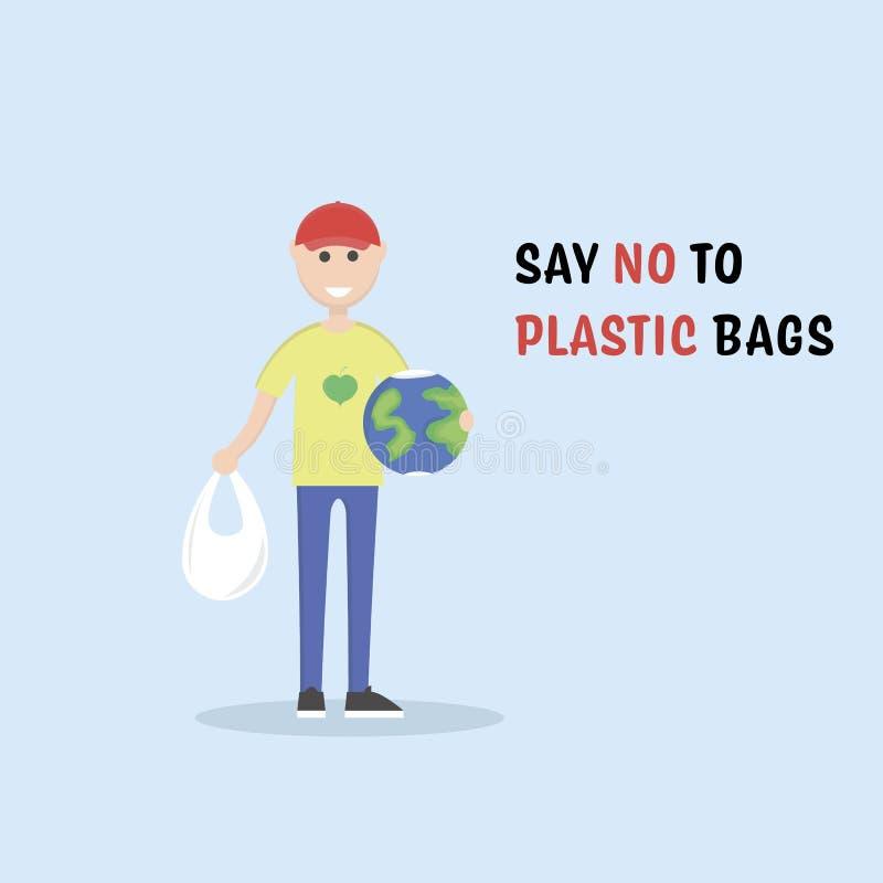 Dites NON aux sachets en plastique Activiste masculin d'eco tenant un globe Conversation d'?cologie Illustration editable plate d illustration libre de droits