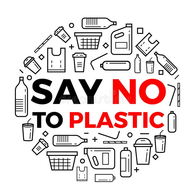 Dites que non à la ligne icônes des textes de plastice et de paquet de plastice signent autour de la conception de vecteur de cer illustration stock