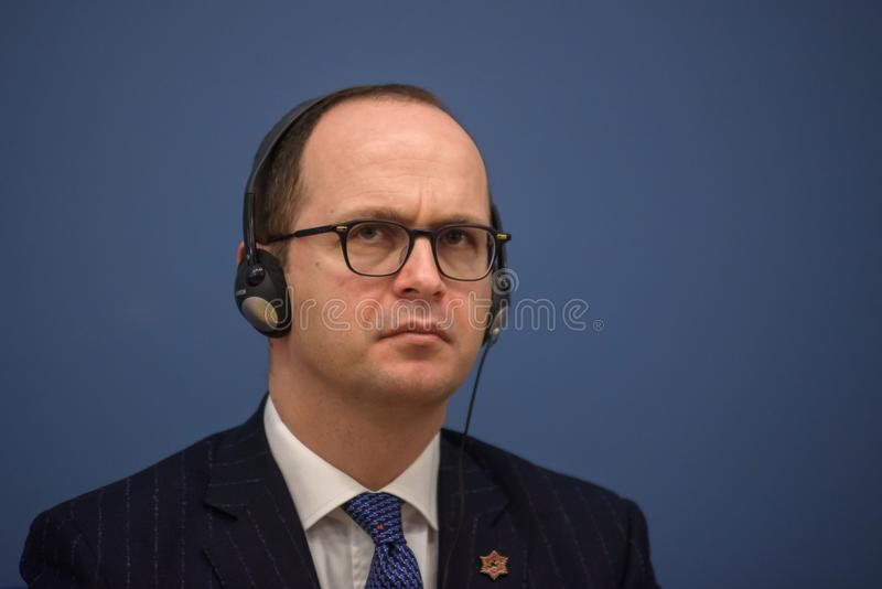 Ditmir Bushati, Albanian Minister of Foreign Affairs. 21.02.2018. RIGA, LATVIA. Press conference after Latvian minister of Foreign Affairs Edgars Rinkevics stock photography