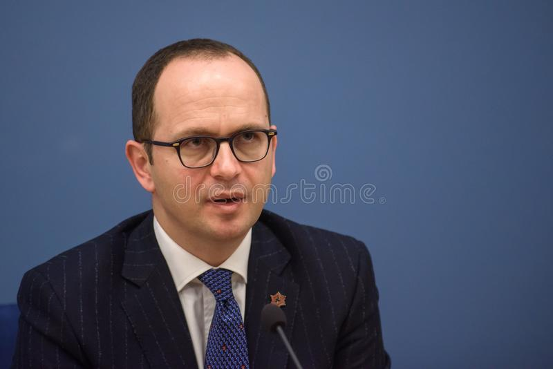 Ditmir Bushati, Albanian Minister of Foreign Affairs. 21.02.2018. RIGA, LATVIA. Press conference after Latvian minister of Foreign Affairs Edgars Rinkevics stock images