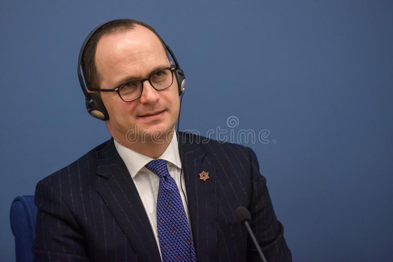 Ditmir Bushati, Albanian Minister of Foreign Affairs. 21.02.2018. RIGA, LATVIA. Press conference after Latvian minister of Foreign Affairs Edgars Rinkevics royalty free stock photography