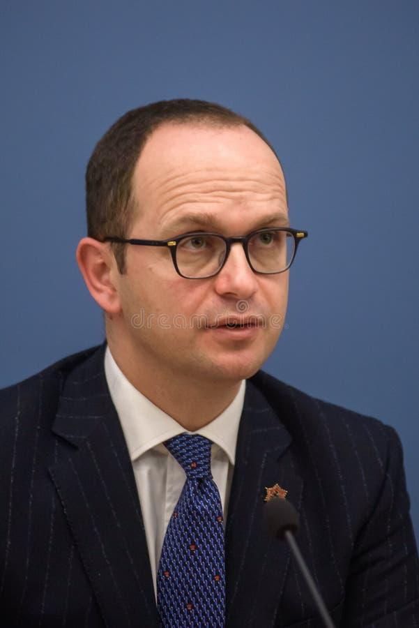 Ditmir Bushati, albansk minister av utländskt - angelägenheter royaltyfria foton