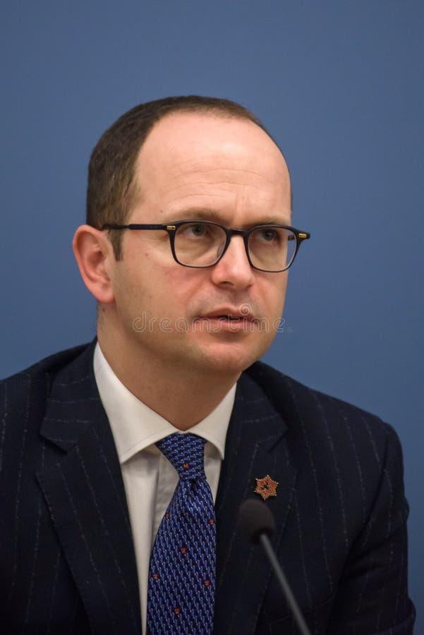 Ditmir Bushati, albansk minister av utländskt - angelägenheter arkivfoto