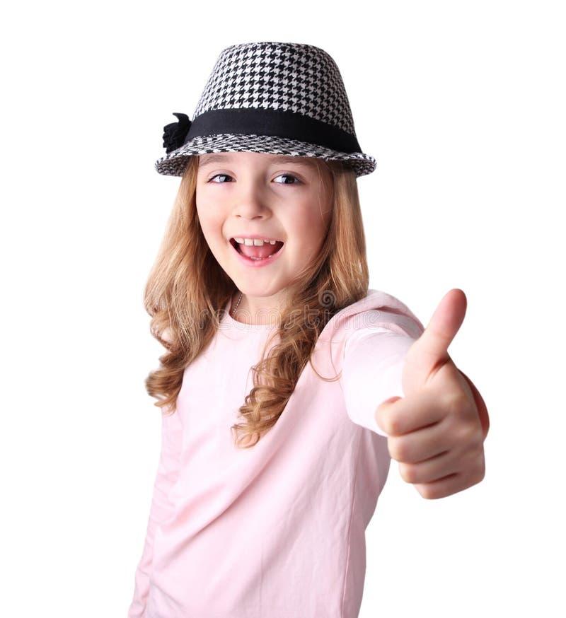 Dito caucasico della ragazza del bambino sul concetto positivo isolato immagini stock