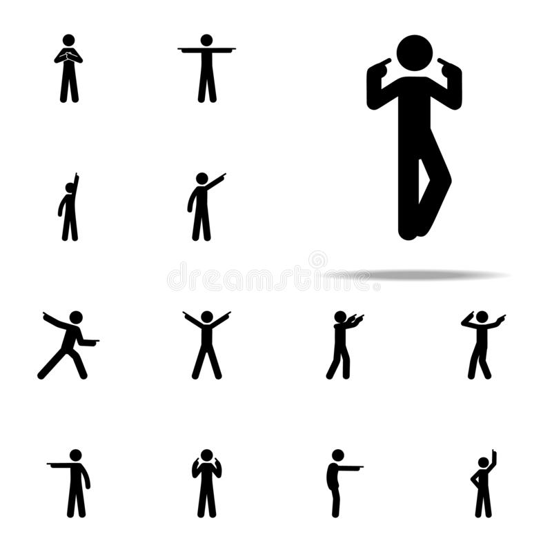 dito dell'uomo, io stesso icona Uomo che indica l'insieme universale delle icone del dito per il web ed il cellulare royalty illustrazione gratis
