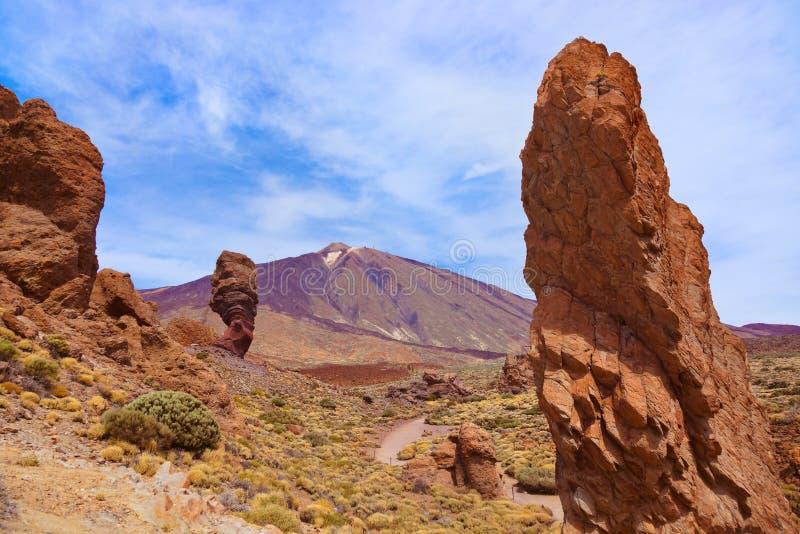 Dito della roccia di Dio al vulcano Teide nell'isola di Tenerife - canarino immagini stock libere da diritti