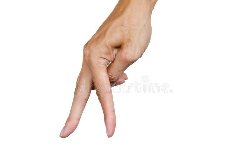 Dito due della mano come una camminata sul pavimento isolato su fondo bianco Percorso di ritaglio Linguaggio del corpo Gesto di m immagine stock