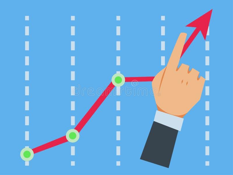 Dito sulla freccia del grafico della tenuta illustrazione di stock