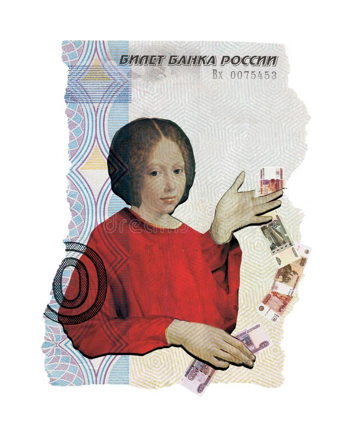 ?ditorial illustratif Collage illustratif La fille jongle les roubles russes avec l'argent Dans la perspective d'un collage illustration libre de droits
