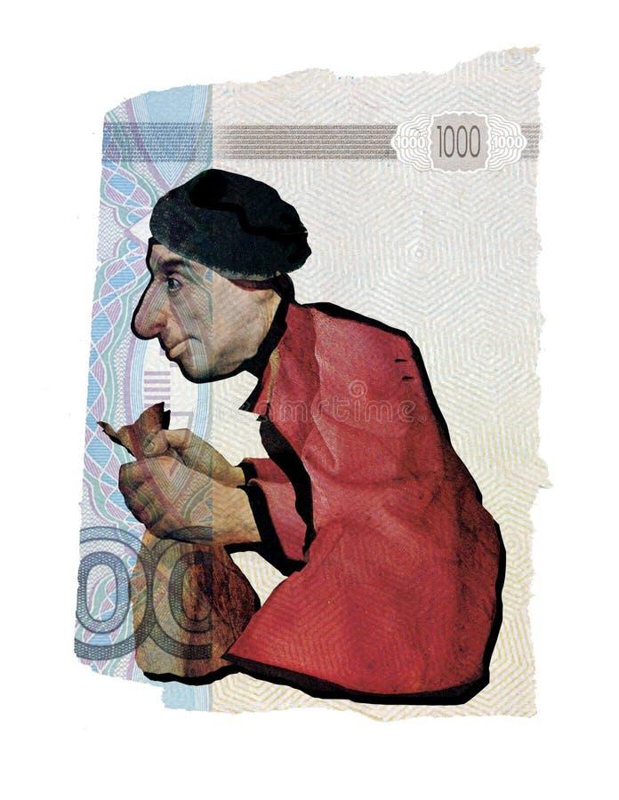 ?ditorial illustratif Collage illustratif Un vieil homme sordide avec un sac d'argent Dans la perspective d'un collage de illustration de vecteur