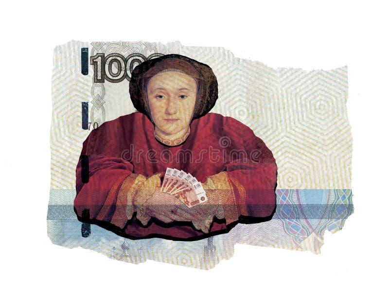 ?ditorial illustratif Collage illustratif Une femme avec des fans d'argent ma?tresse Roubles de la Russie Dans la perspective d'a illustration libre de droits