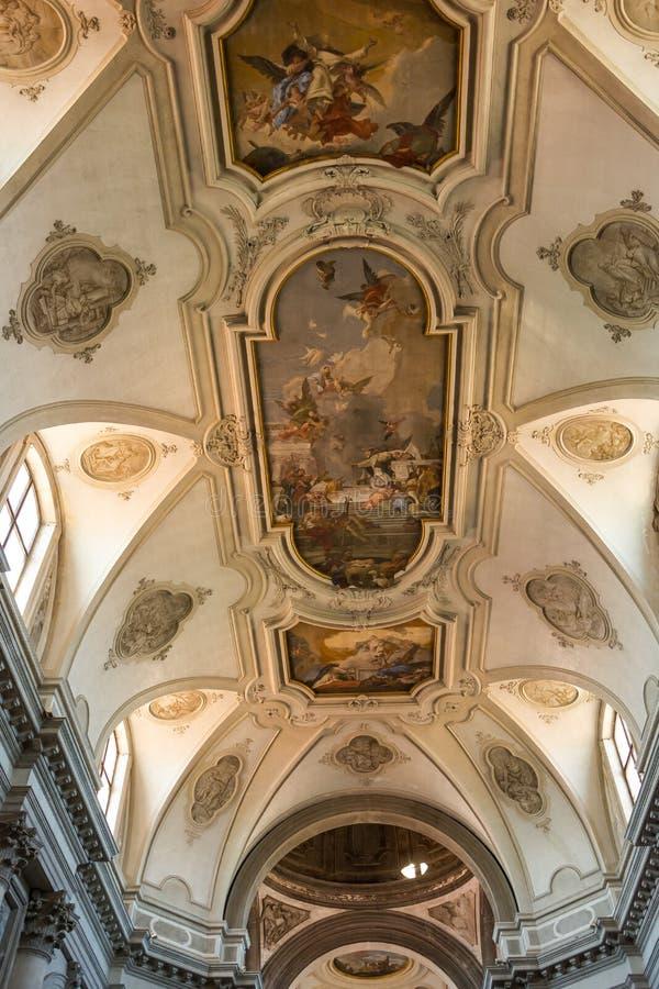 ?ditorial Juin 2019 Venise, Italie La peinture sur le plafond de l'église Santa Maria del Rosario Gesuati à Venise, Italie photos libres de droits