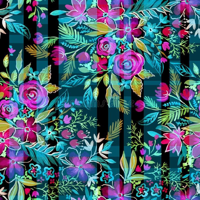 Ditsy-Blumen mit Kontrollen und Streifen Nahtloses Muster lizenzfreie abbildung