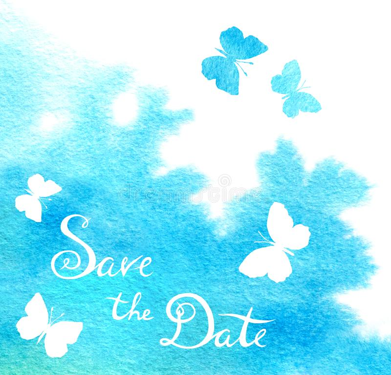 Ditsy butterflies and save the date lettering. Retro wedding card. Watercolour background. Background royalty free stock photos