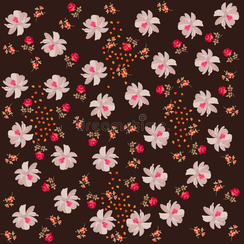 Ditsy floral endless pattern. Tiny roses and small cosmos flowers, petals and leaves on dark brown background. Print for fabric.  royalty free illustration
