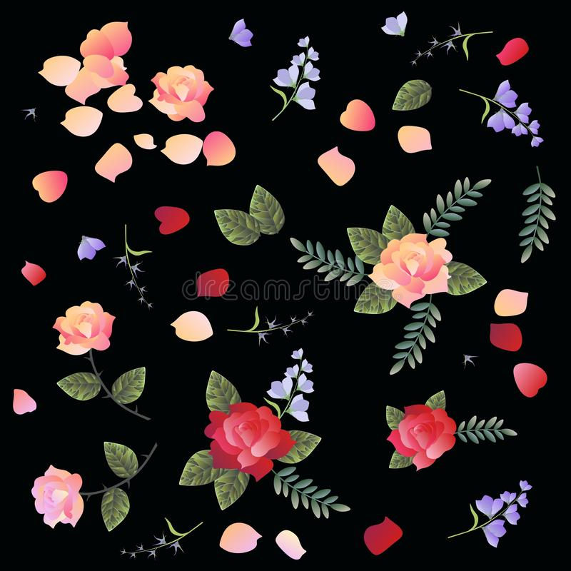 Ditsy floral pattern with roses and bell flowers on black background. Manton fragment vector illustration