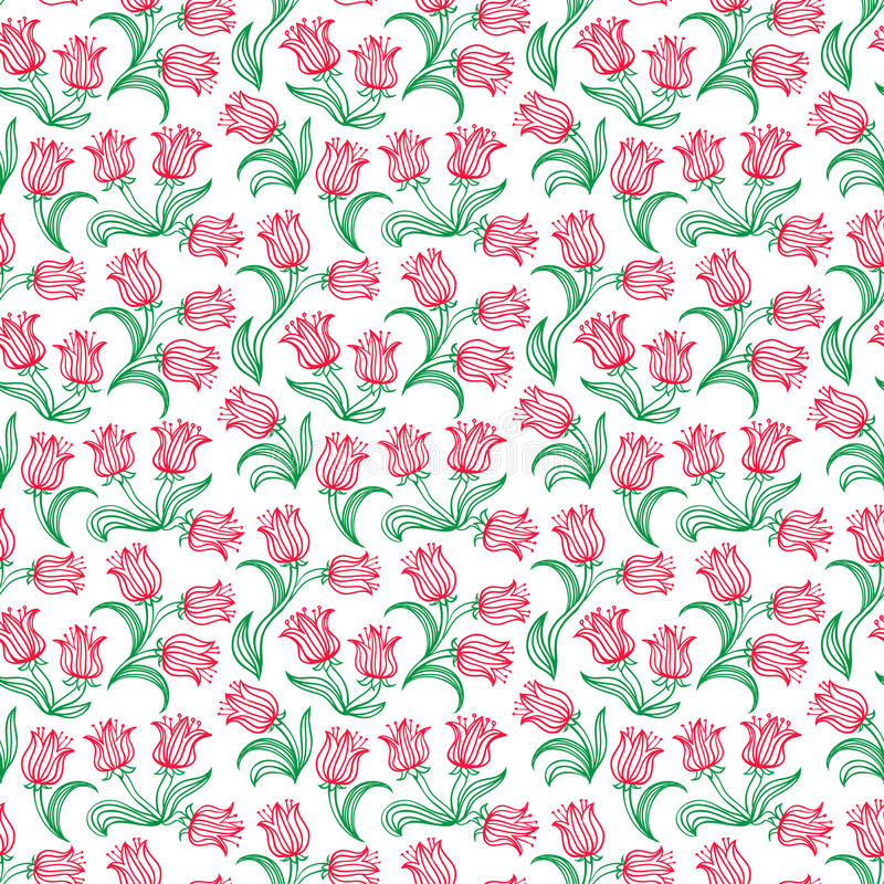 2015 Ditsy Floral Design: Ditsy Floral Pattern With Small Red Tulips Stock Vector