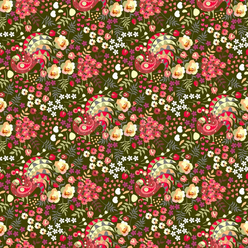 Ditsy floral seamless pattern in russian style. Cute fairy peacocks, leaves, roses, tulips flowers on dark green background. In vector vector illustration