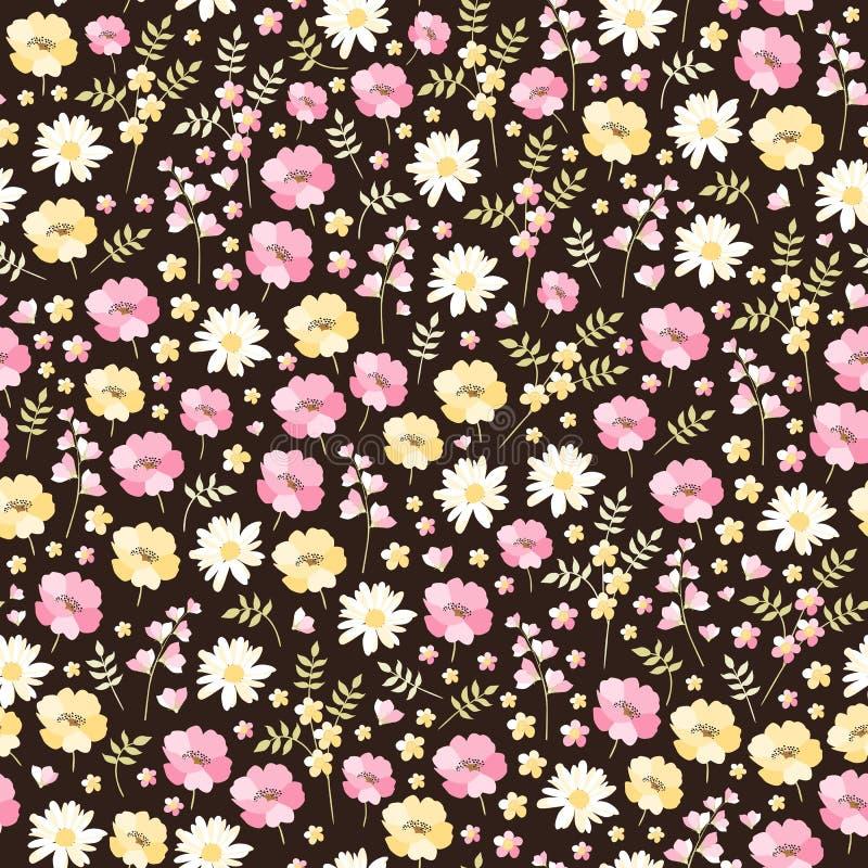 Ditsy kwiecisty bezszwowy wzór w wektorze Śliczni mali kwiaty w menchii, koloru żółtego i bielu kolorach na ciemnym tle, royalty ilustracja