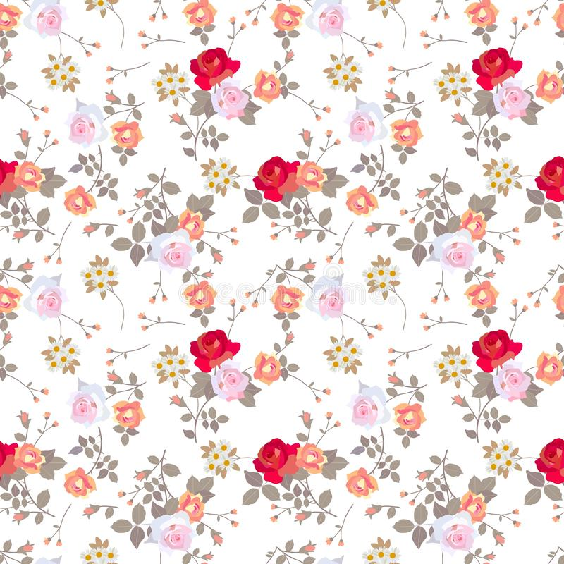 Ditsy naadloos bloemenpatroon met diverse rozen, madeliefjes en bladeren op witte achtergrond vector illustratie