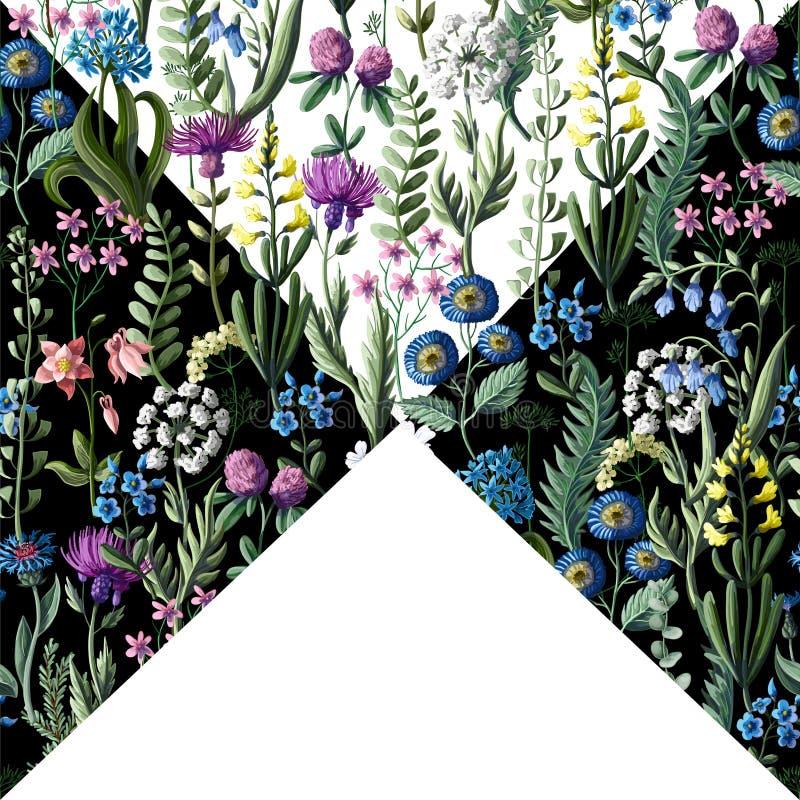 Ditsy naadloos patroon met wilde bloemen voor textielontwerp Vector illustratie stock illustratie
