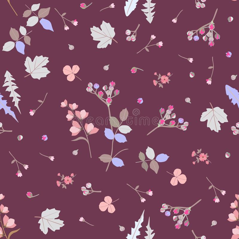 Ditsy seamless botanical pattern with colorful stylized leaves, little buds and flowers isolated on brown background in vector. stock illustration