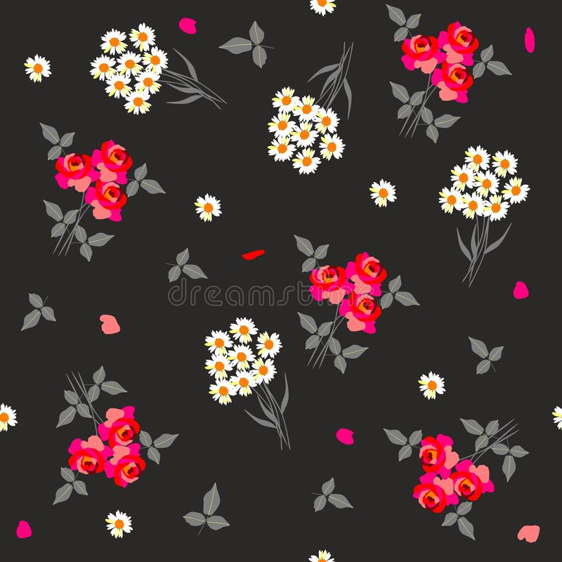 Ditsy seamless floral pattern with bouquets of red roses and white daisies on black background. royalty free illustration