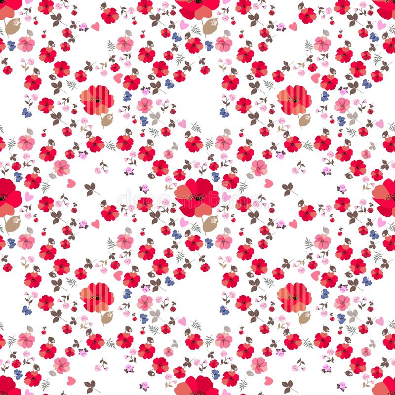 Ditsy seamless floral pattern with little blue cartoon butterflies and pink hearts on white background. Print for fabric stock illustration