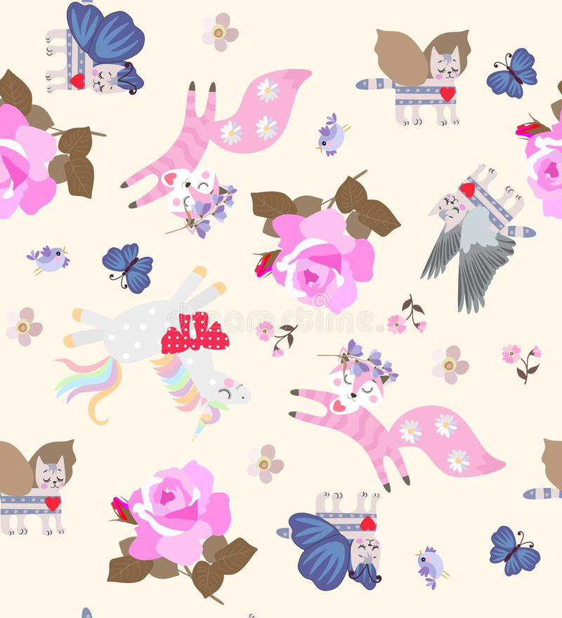 Ditsy seamless pattern with cute cartoon unicorns, winged tabby cats, jumping foxes and flying birds vector illustration
