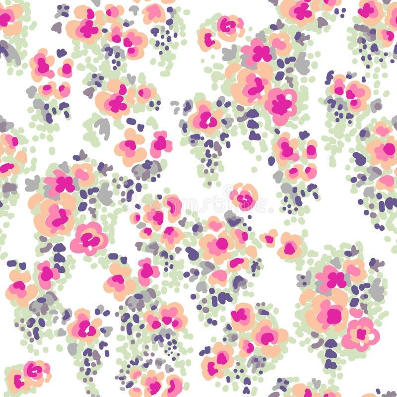 Ditsy vattenfärgblommor stock illustrationer