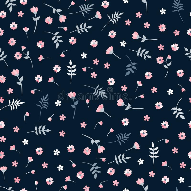 Ditsy vector seamless pattern with small pink flowers and leaves on dark background. Floral print for fabric, textile, wallpaper vector illustration