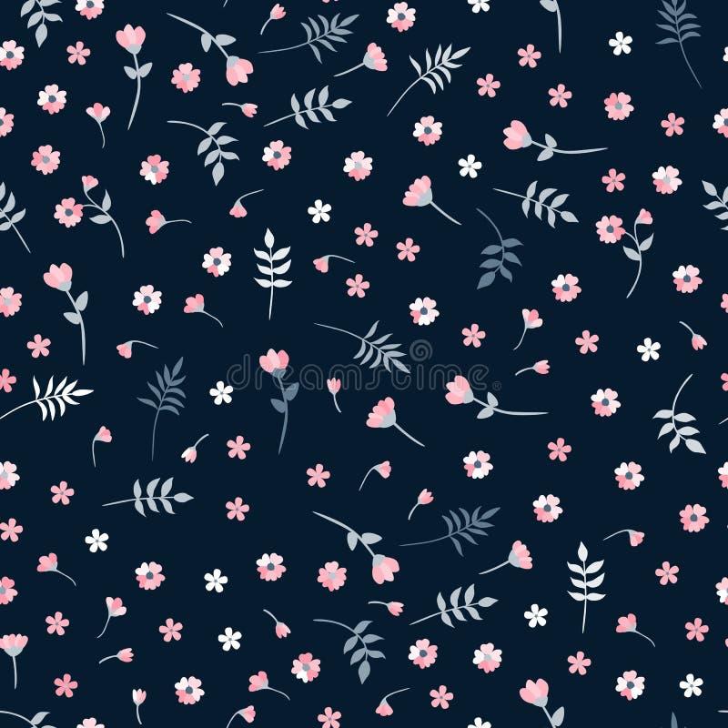 Ditsy wektorowy bezszwowy wzór z małymi menchia kwiatami, liśćmi na ciemnym tle i ilustracja wektor