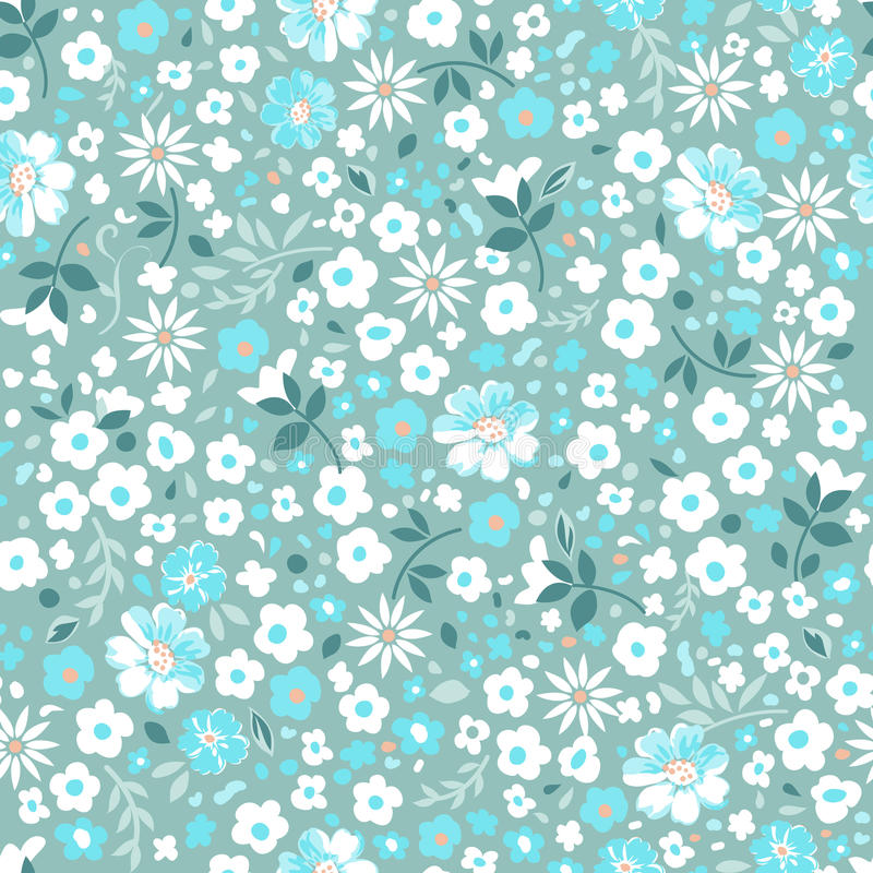 Ditsy witte naadloze bloemen~ royalty-vrije illustratie