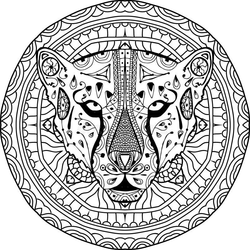 ditt designelement Nationell etnisk rund modell med huvudet av en gepard Färga sidan royaltyfri illustrationer