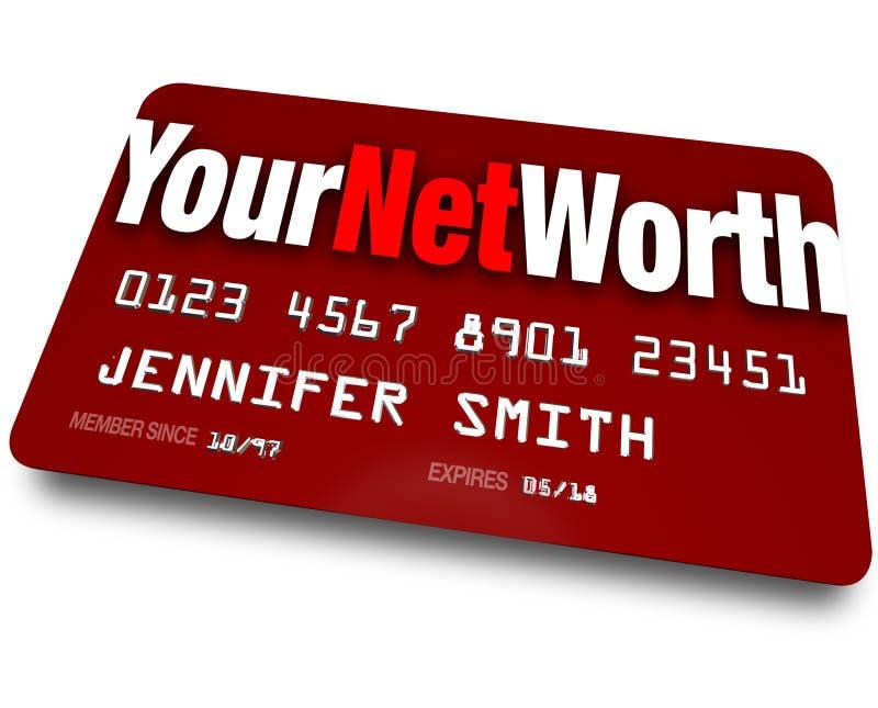 Ditt för kreditkortskuld för netto värde värde för värdering stock illustrationer