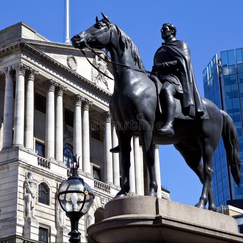 Diuk Wellington statua i bank anglii obrazy royalty free
