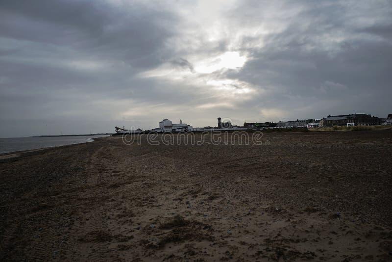 Diuna i plaża Greath Yarmouth, Północny morze w UK obrazy royalty free