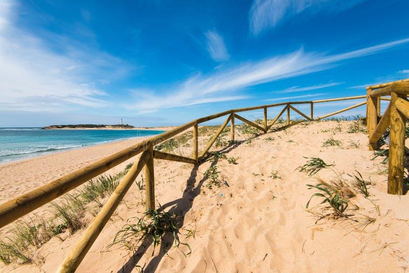 Diuny w naturalnej rezerwie Zahara De Los Atunes, Hiszpania obraz stock