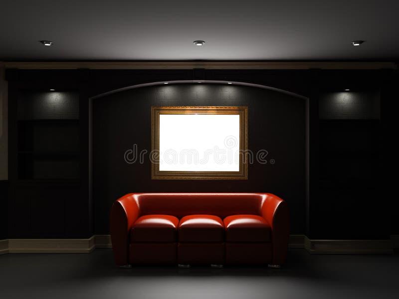 Diván y estante para libros de cuero rojos en sitio oscuro ilustración del vector