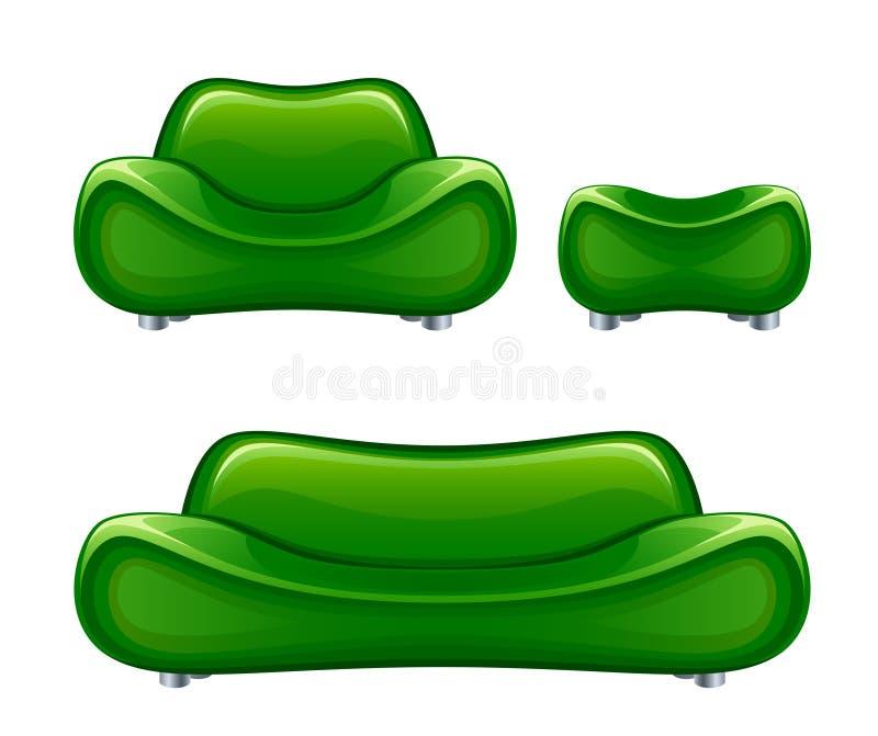 Divã verde ilustração royalty free
