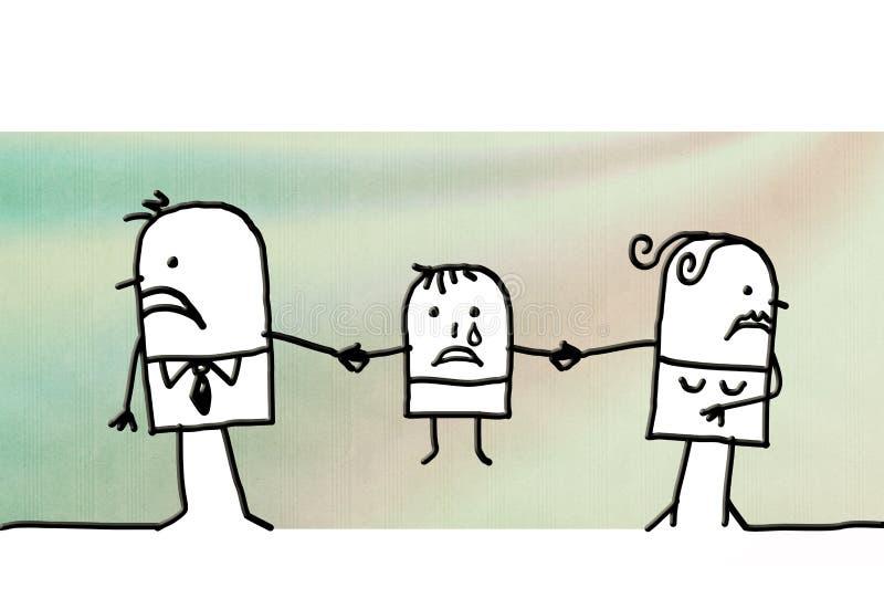Divórcio dos pares dos desenhos animados e criança triste ilustração do vetor